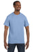 Hanes 5250T Mens ComfortSoft Short Sleeve Crewneck T-Shirt Light Blue Front