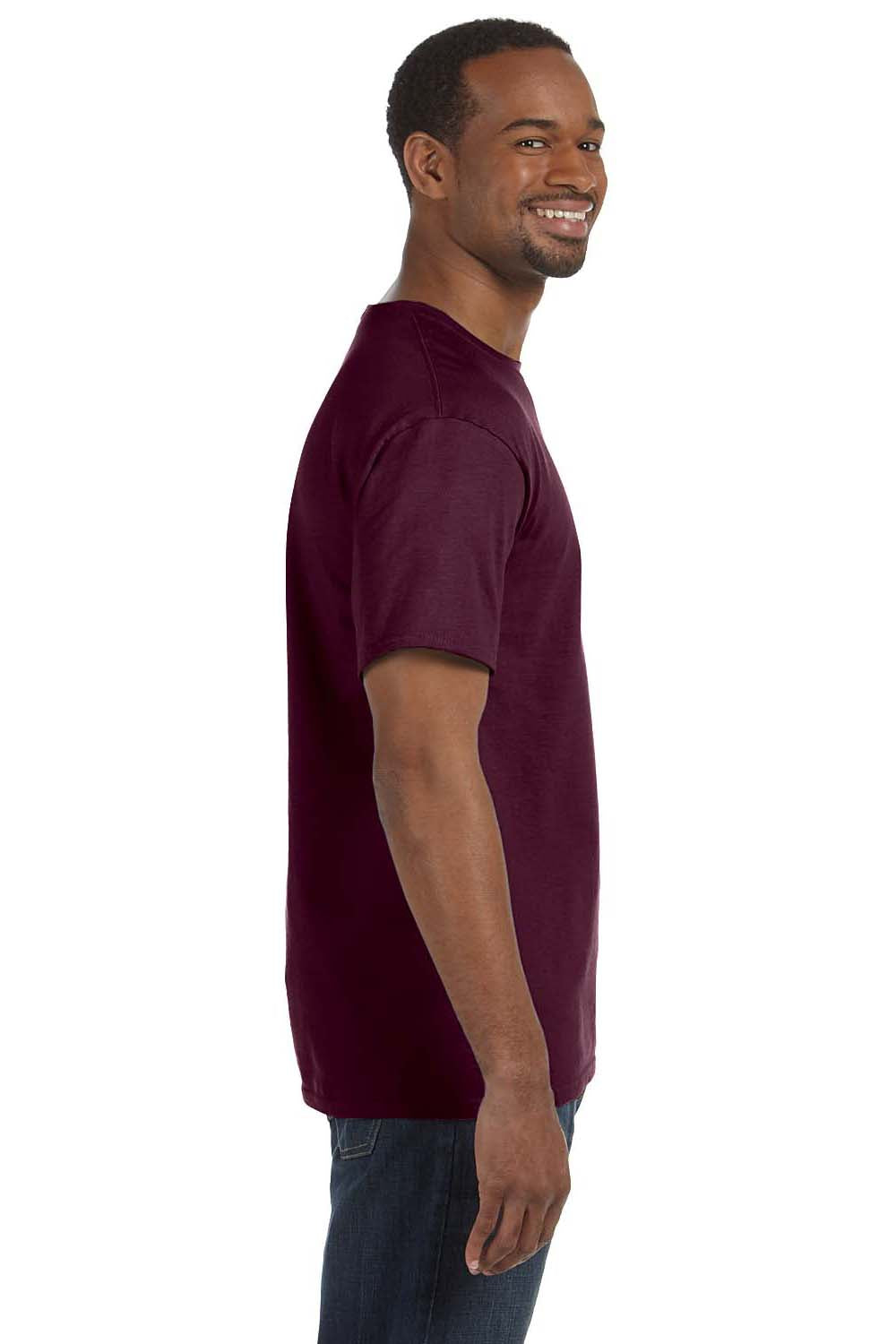 Hanes 5250T Mens ComfortSoft Short Sleeve Crewneck T-Shirt Maroon Side