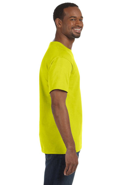 Hanes 5250T Mens ComfortSoft Short Sleeve Crewneck T-Shirt Safety Green Side