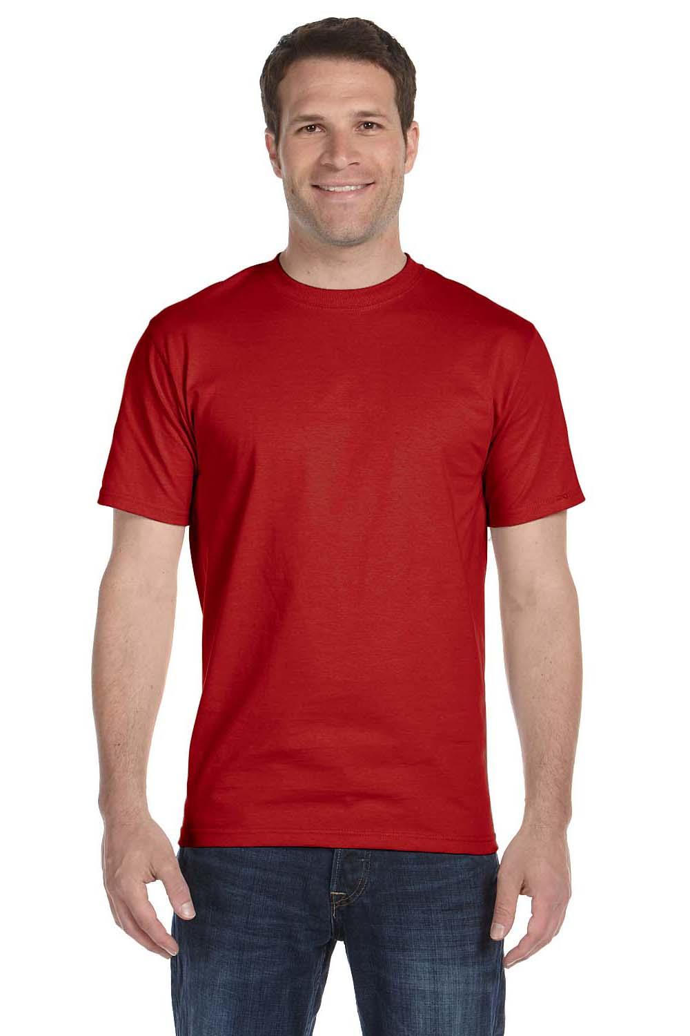 Hanes 5280 Mens ComfortSoft Short Sleeve Crewneck T-Shirt Red Front