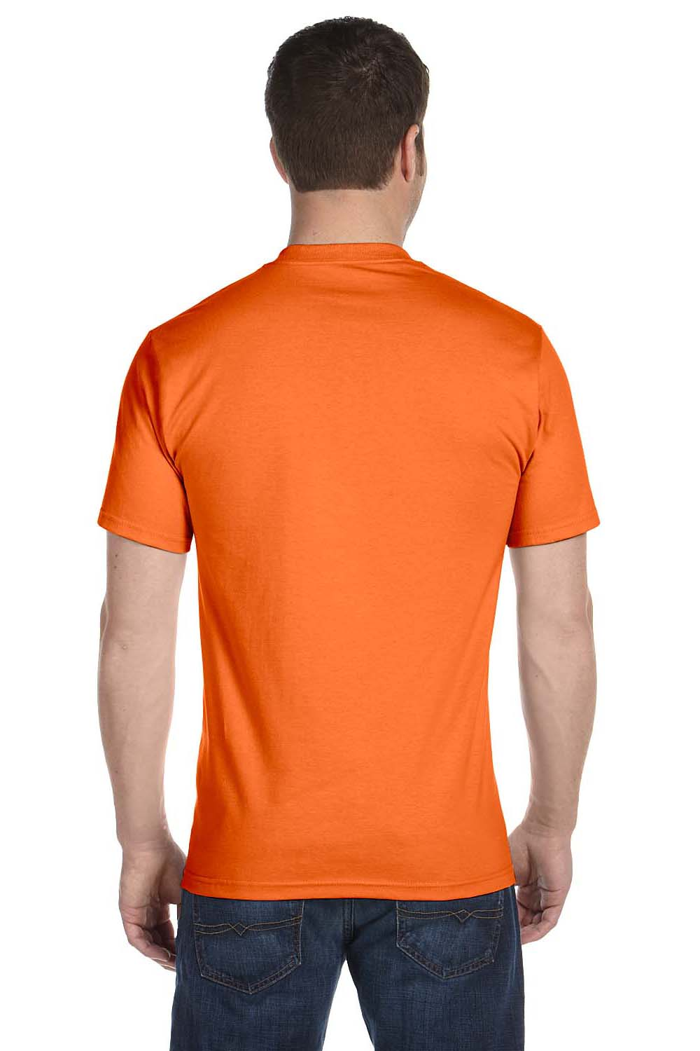 Hanes 5280 Mens ComfortSoft Short Sleeve Crewneck T-Shirt Orange Back