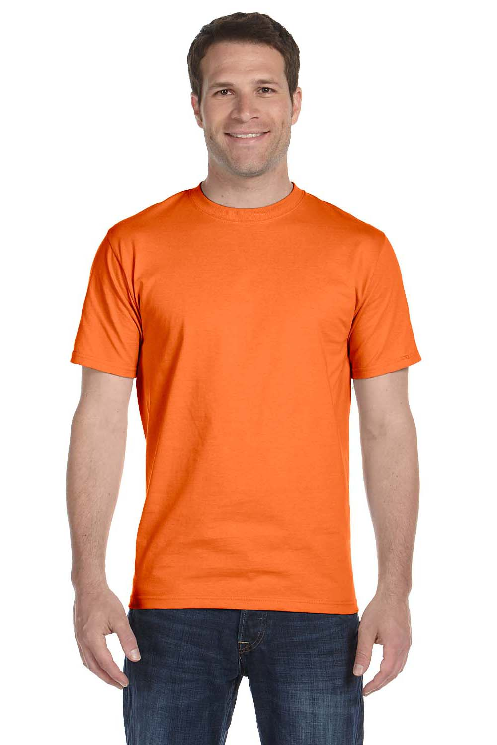Hanes 5280 Mens ComfortSoft Short Sleeve Crewneck T-Shirt Orange Front