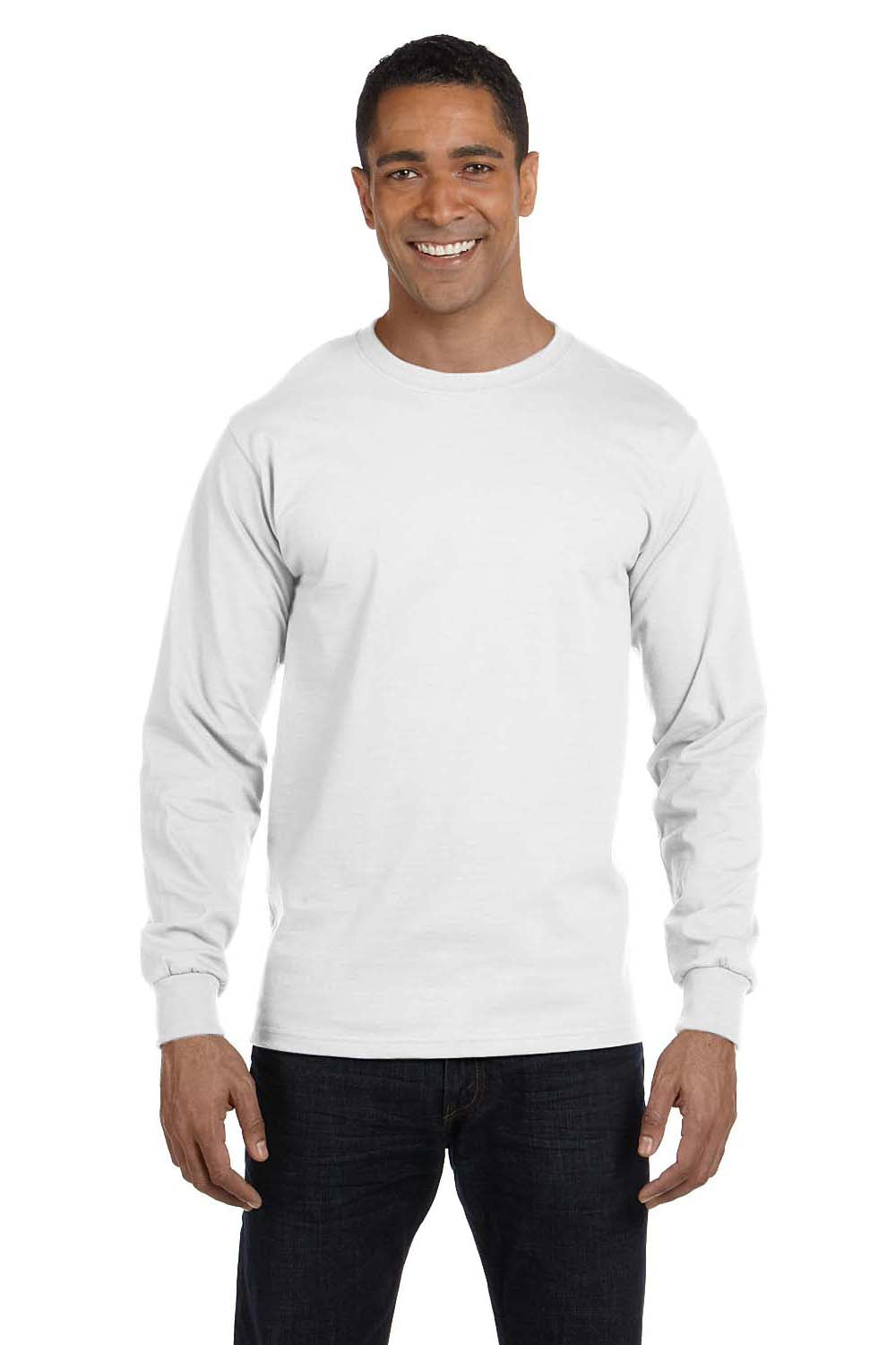 Hanes 5286 Mens ComfortSoft Long Sleeve Crewneck T-Shirt White Front