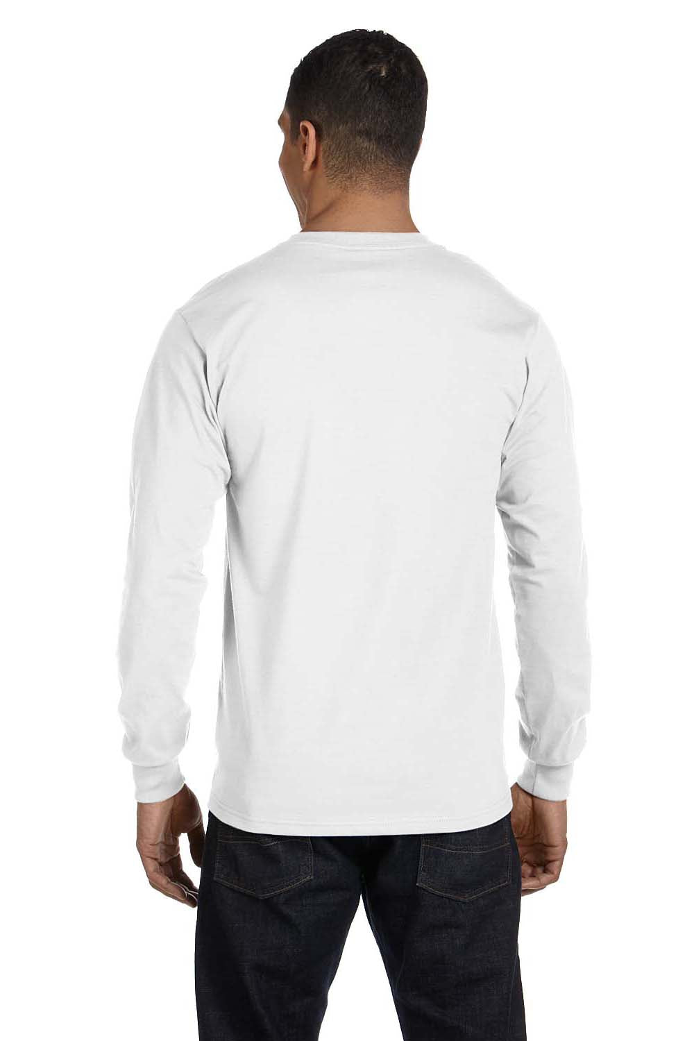 Hanes 5286 Mens ComfortSoft Long Sleeve Crewneck T-Shirt White Back