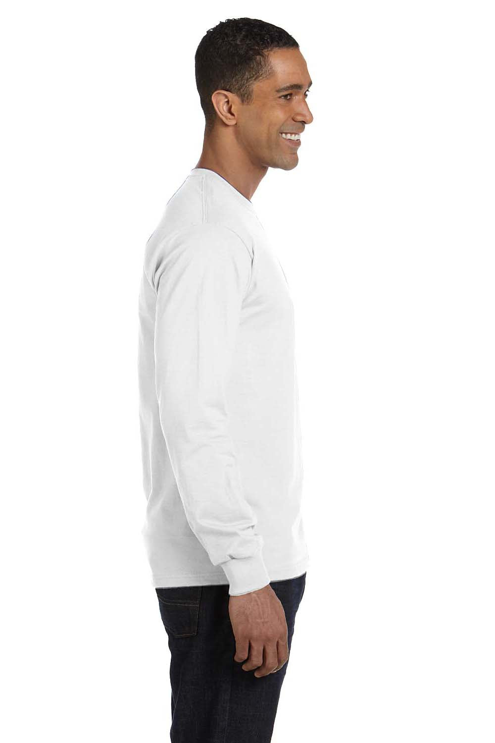 Hanes 5286 Mens ComfortSoft Long Sleeve Crewneck T-Shirt White Side