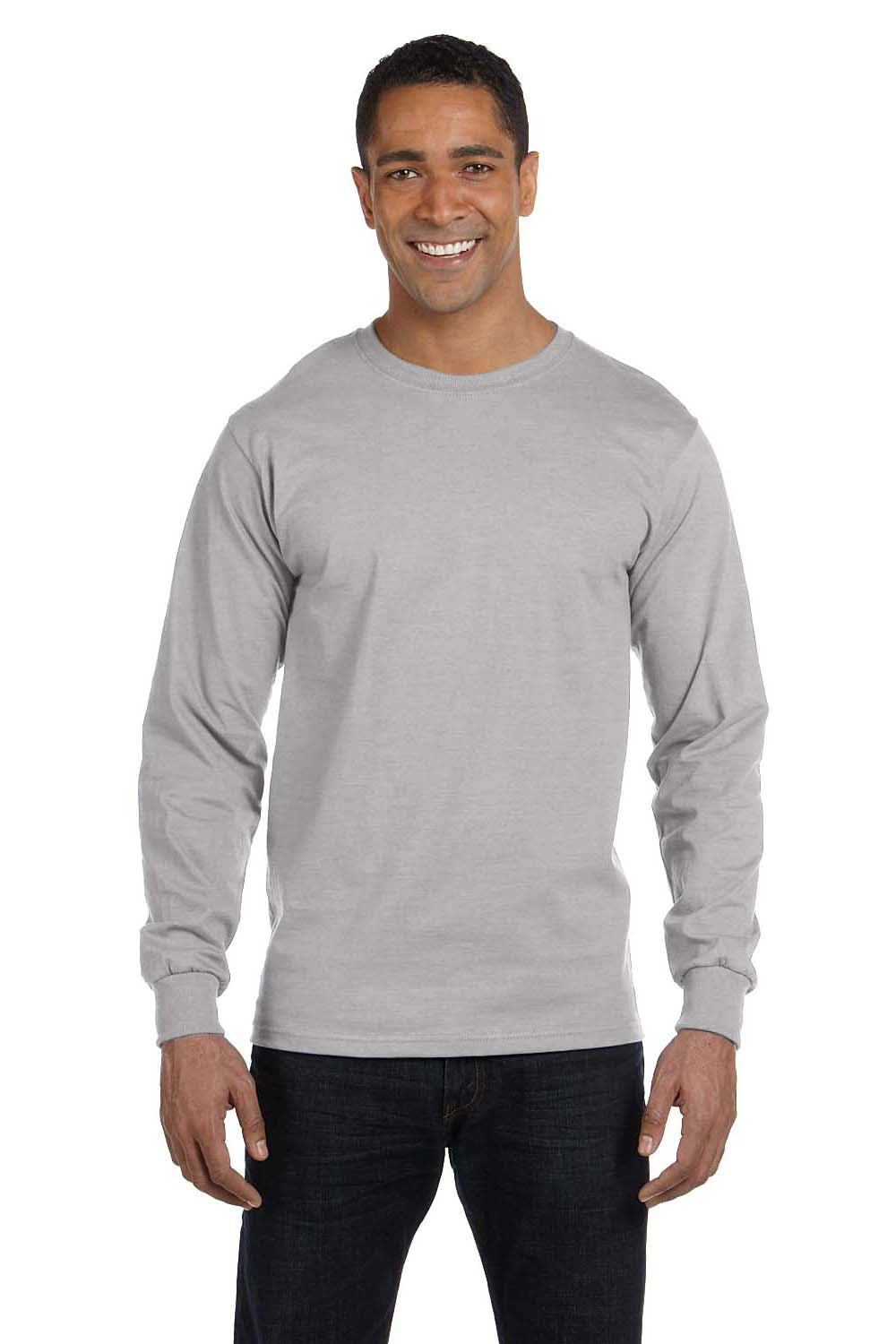 Hanes 5286 Mens ComfortSoft Long Sleeve Crewneck T-Shirt Light Steel Grey Front