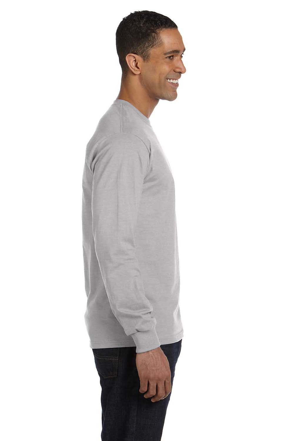 Hanes 5286 Mens ComfortSoft Long Sleeve Crewneck T-Shirt Light Steel Grey Side