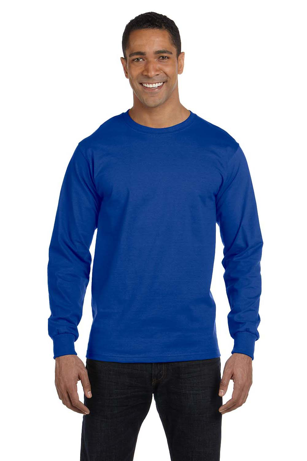 Hanes 5286 Mens ComfortSoft Long Sleeve Crewneck T-Shirt Royal Blue Front