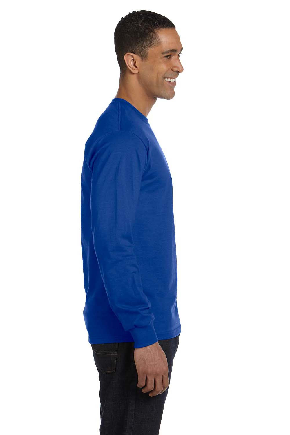 Hanes 5286 Mens ComfortSoft Long Sleeve Crewneck T-Shirt Royal Blue Side