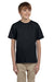 Hanes 5370 Youth EcoSmart Short Sleeve Crewneck T-Shirt Black Front