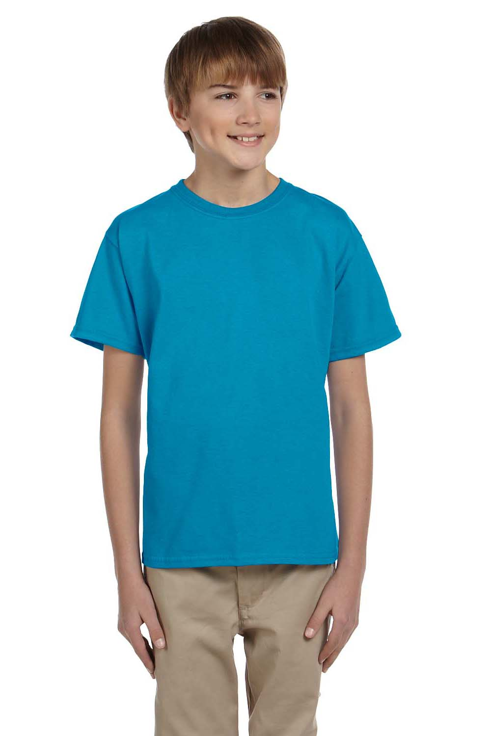 Hanes 5370 Youth EcoSmart Short Sleeve Crewneck T-Shirt Teal Blue Front