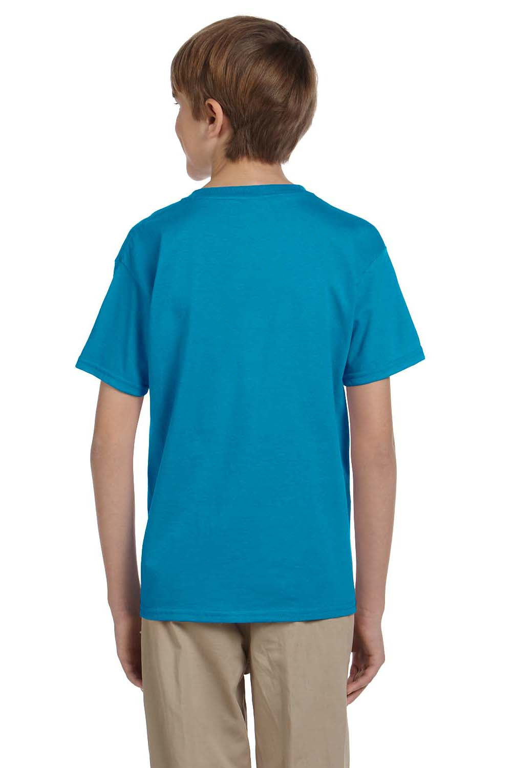 Hanes 5370 Youth EcoSmart Short Sleeve Crewneck T-Shirt Teal Blue Back
