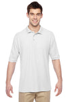 Jerzees 537MSR Mens Easy Care Moisture Wicking Short Sleeve Polo Shirt White Front