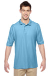 Jerzees 537MSR Mens Easy Care Moisture Wicking Short Sleeve Polo Shirt Light Blue Front