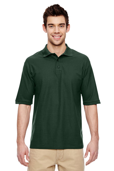 Jerzees 537MSR Mens Easy Care Moisture Wicking Short Sleeve Polo Shirt Forest Green Front