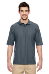 Jerzees 537MSR Mens Easy Care Moisture Wicking Short Sleeve Polo Shirt Charcoal Grey Front