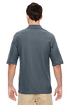 Jerzees 537MSR Mens Easy Care Moisture Wicking Short Sleeve Polo Shirt Charcoal Grey Back
