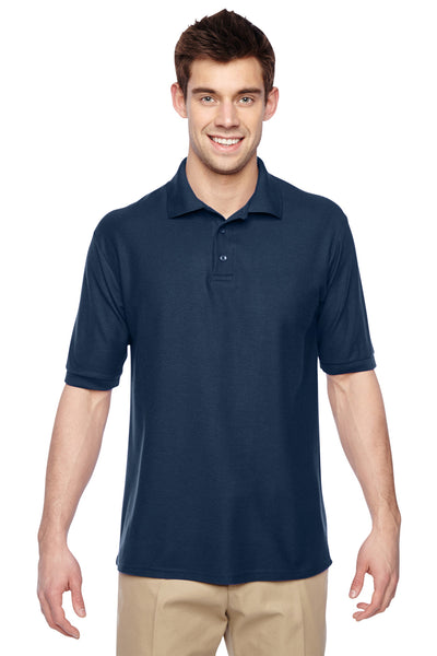 Jerzees 537MSR Mens Easy Care Moisture Wicking Short Sleeve Polo Shirt Navy Blue Front
