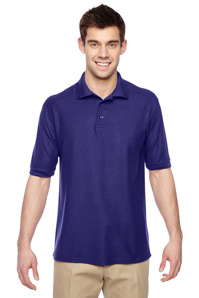 Jerzees 537MSR Mens Easy Care Moisture Wicking Short Sleeve Polo Shirt Purple Front