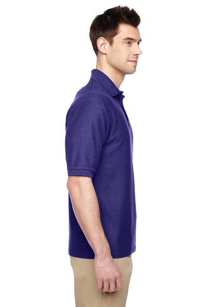 Jerzees 537MSR Mens Easy Care Moisture Wicking Short Sleeve Polo Shirt Purple Side