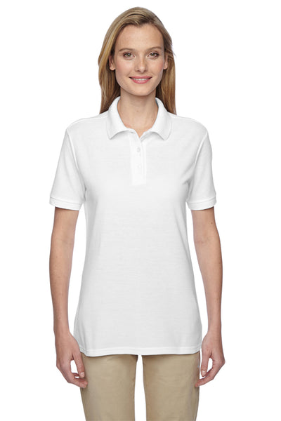Jerzees 537WR Womens Easy Care Moisture Wicking Short Sleeve Polo Shirt White Front