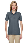 Jerzees 537WR Womens Easy Care Moisture Wicking Short Sleeve Polo Shirt Charcoal Grey Front