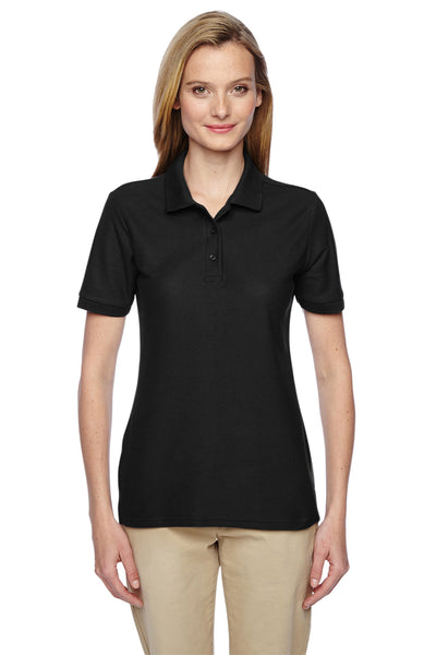Jerzees 537WR Womens Easy Care Moisture Wicking Short Sleeve Polo Shirt Black Front