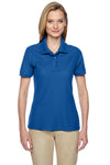 Jerzees 537WR Womens Easy Care Moisture Wicking Short Sleeve Polo Shirt Royal Blue Front