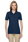 Jerzees 537WR Womens Easy Care Moisture Wicking Short Sleeve Polo Shirt Navy Blue Front