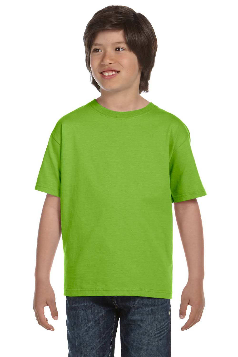 Hanes 5380 Youth Beefy-T Short Sleeve Crewneck T-Shirt Lime Green Front