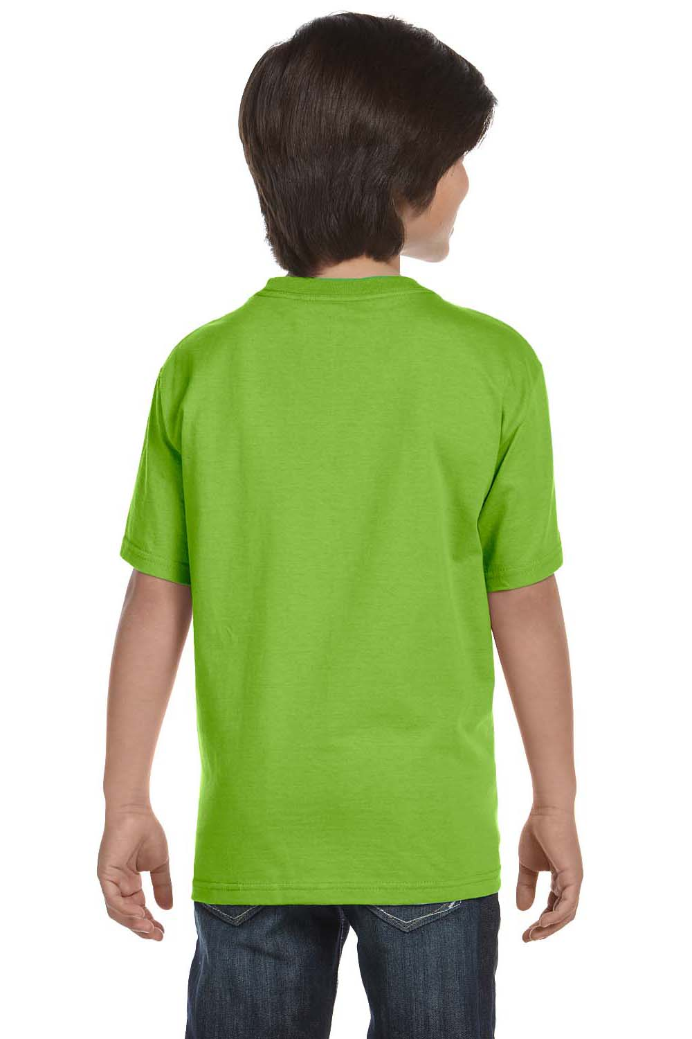 Hanes 5380 Youth Beefy-T Short Sleeve Crewneck T-Shirt Lime Green Back
