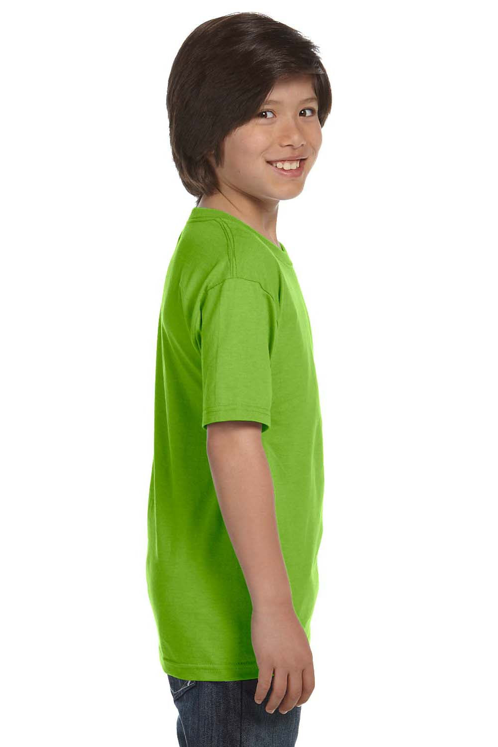 Hanes 5380 Youth Beefy-T Short Sleeve Crewneck T-Shirt Lime Green Side