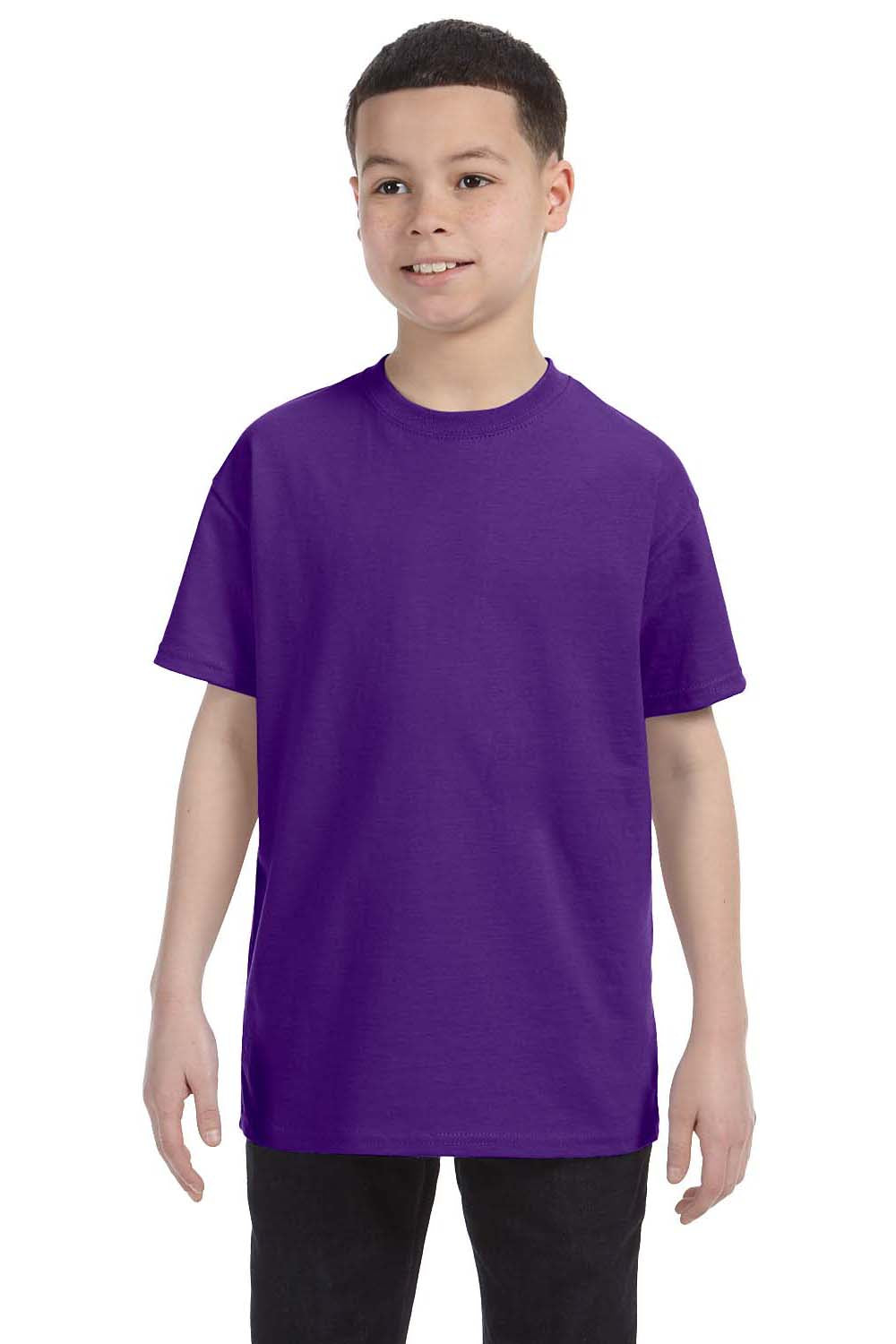 Hanes 54500 Youth ComfortSoft Short Sleeve Crewneck T-Shirt Purple Front