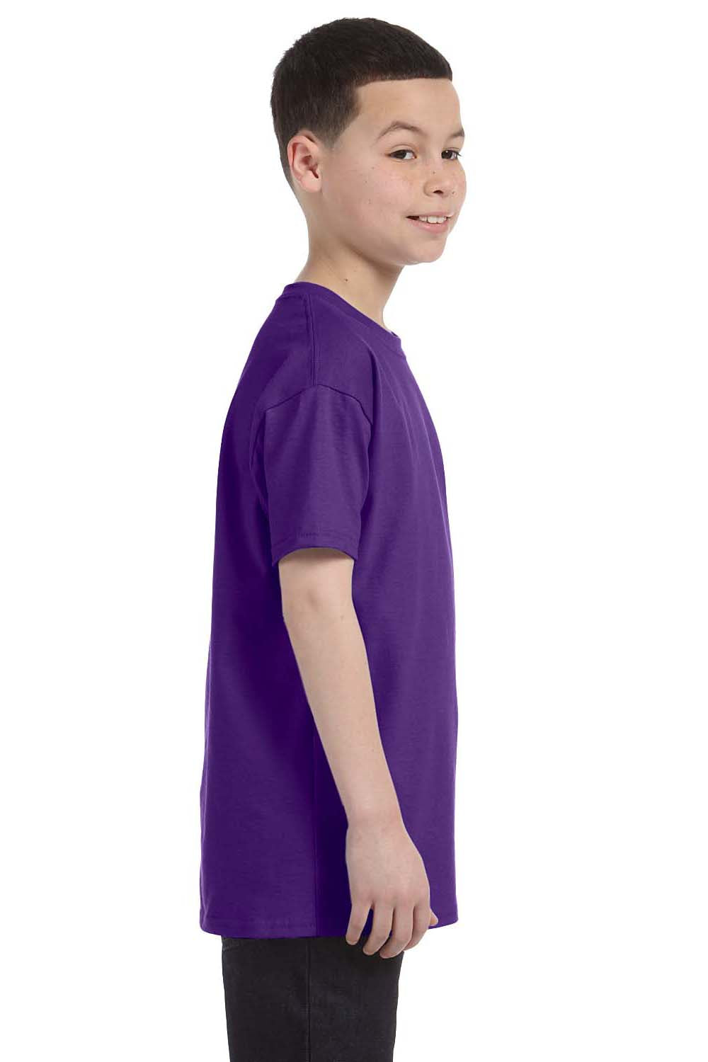 Hanes 54500 Youth ComfortSoft Short Sleeve Crewneck T-Shirt Purple Side