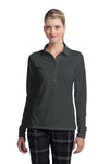 Nike 545322 Womens Stretch Tech Dri-Fit Moisture Wicking Short Sleeve Polo Shirt Anthracite Grey Front