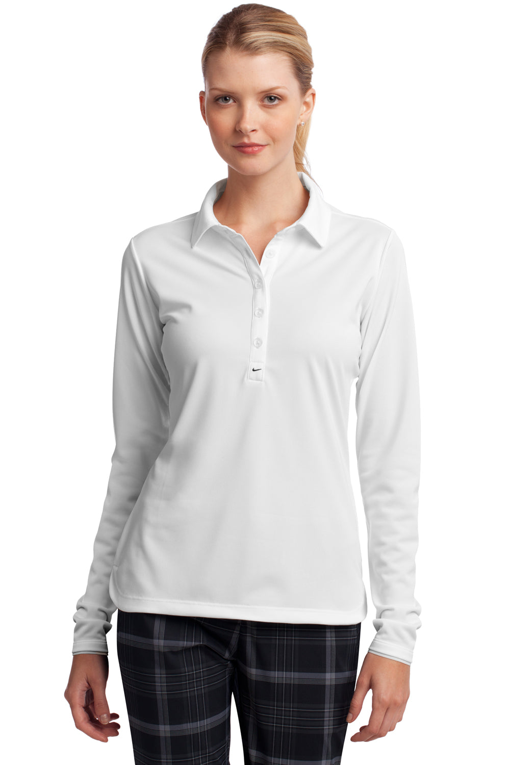 Nike 545322 Womens Stretch Tech Dri-Fit Moisture Wicking Short Sleeve Polo Shirt White Front