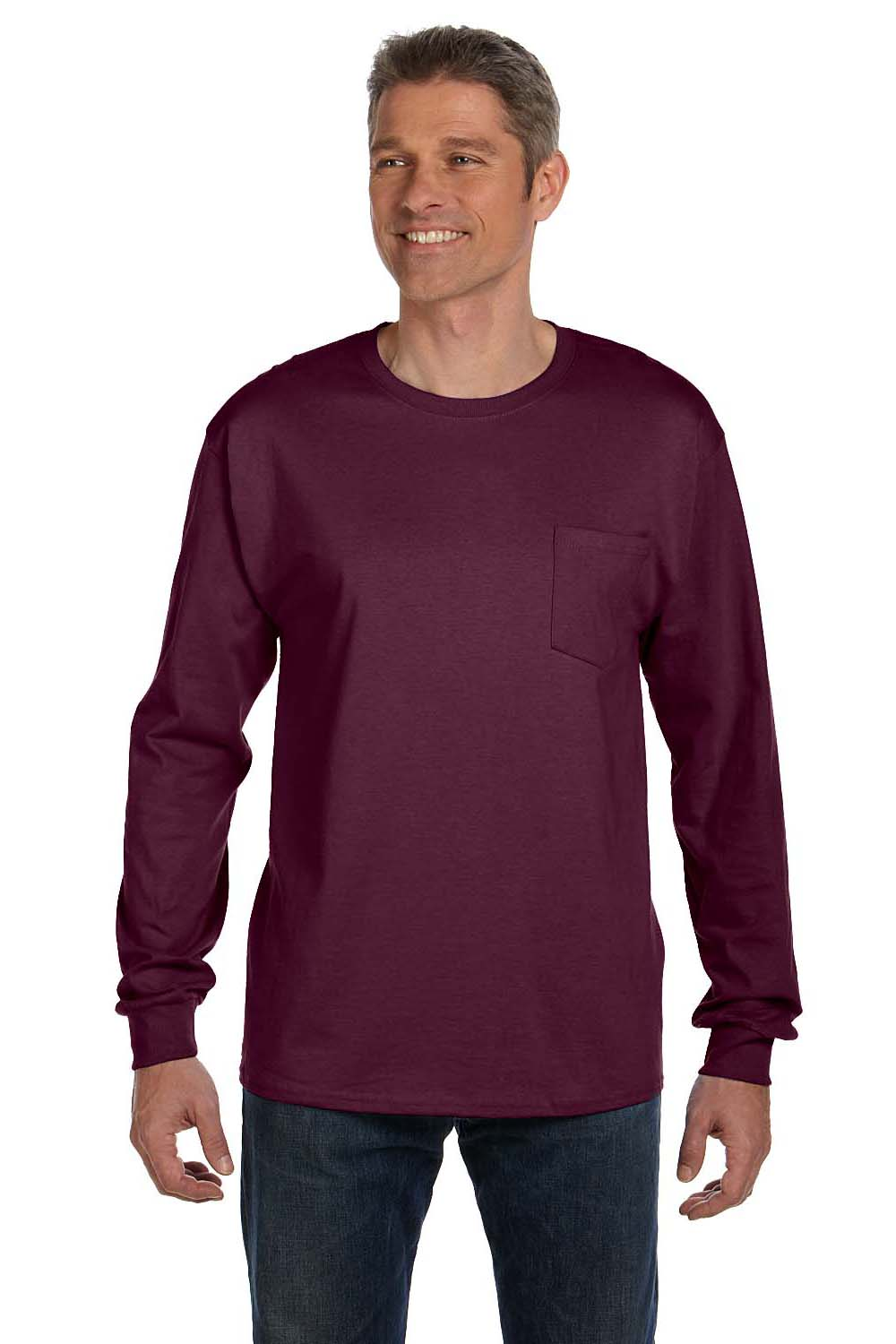 Hanes 5596 Mens ComfortSoft Long Sleeve Crewneck T-Shirt w/ Pocket Maroon Front