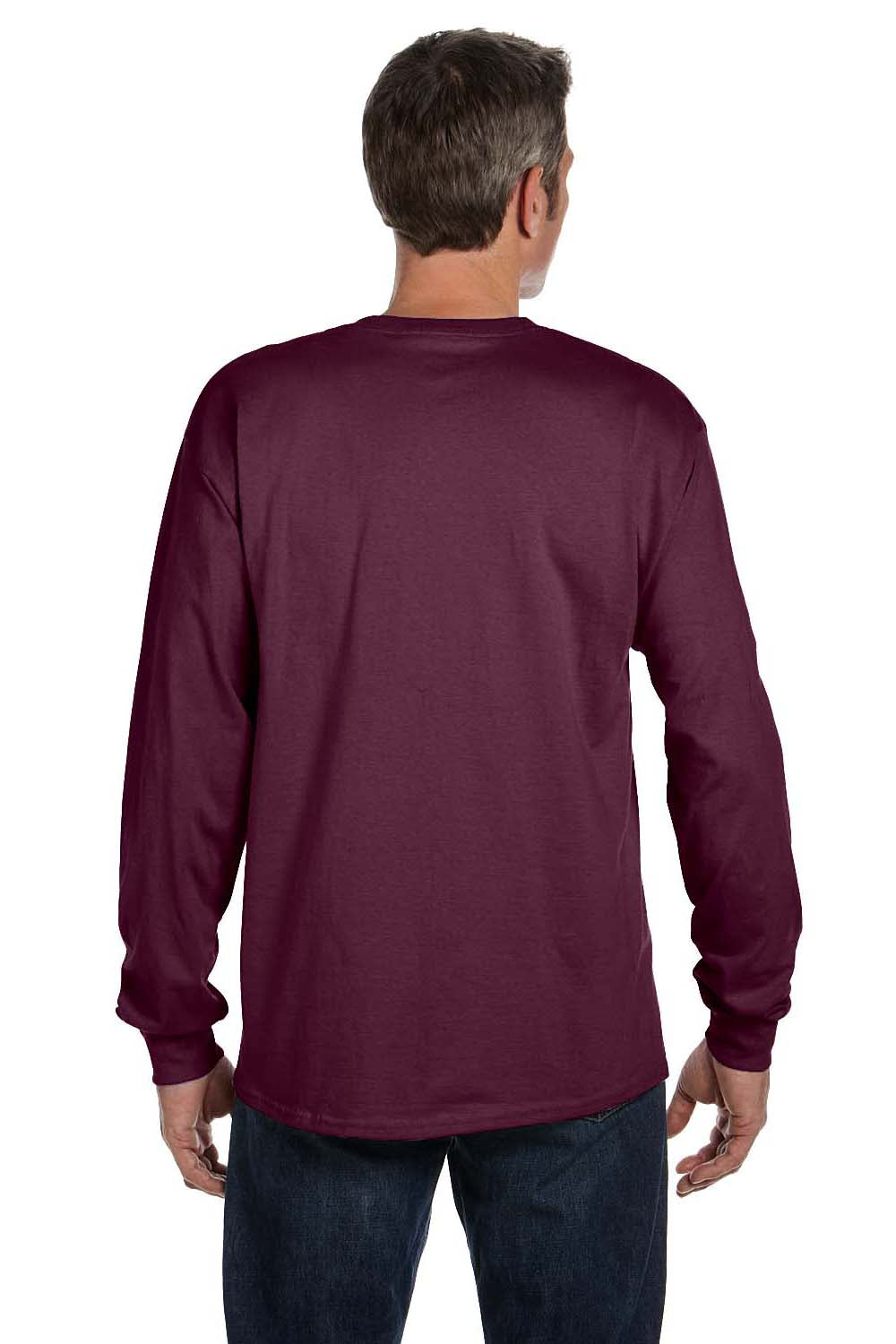 Hanes 5596 Mens ComfortSoft Long Sleeve Crewneck T-Shirt w/ Pocket Maroon Back