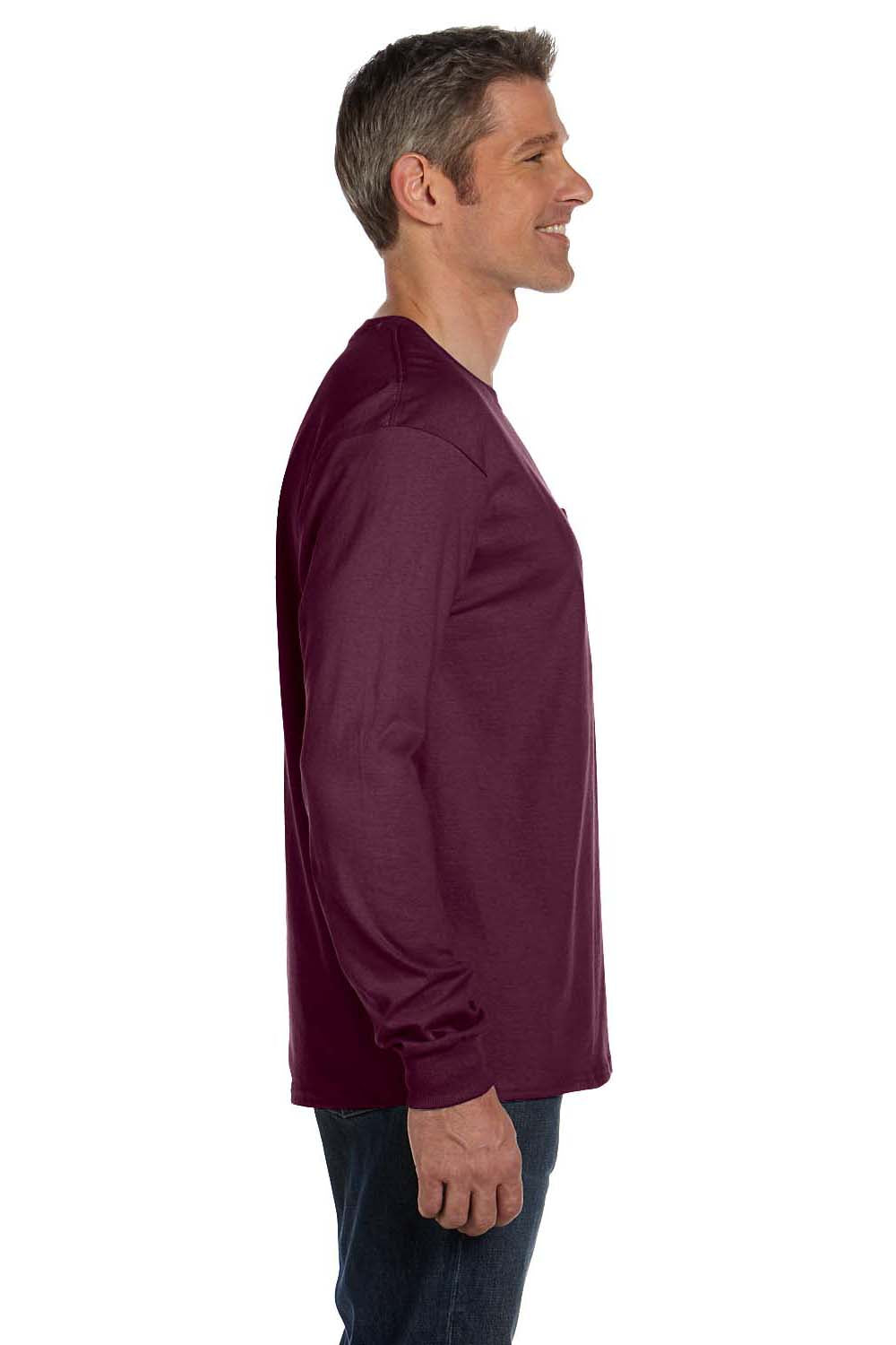 Hanes 5596 Mens ComfortSoft Long Sleeve Crewneck T-Shirt w/ Pocket Maroon Side