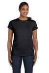 Hanes 5680 Womens ComfortSoft Short Sleeve Crewneck T-Shirt Black Front