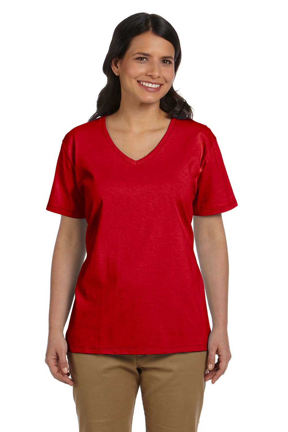 Hanes 5780 Womens ComfortSoft Short Sleeve V-Neck T-Shirt Red Front