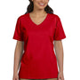 Hanes Womens ComfortSoft Short Sleeve V-Neck T-Shirt - Deep Red