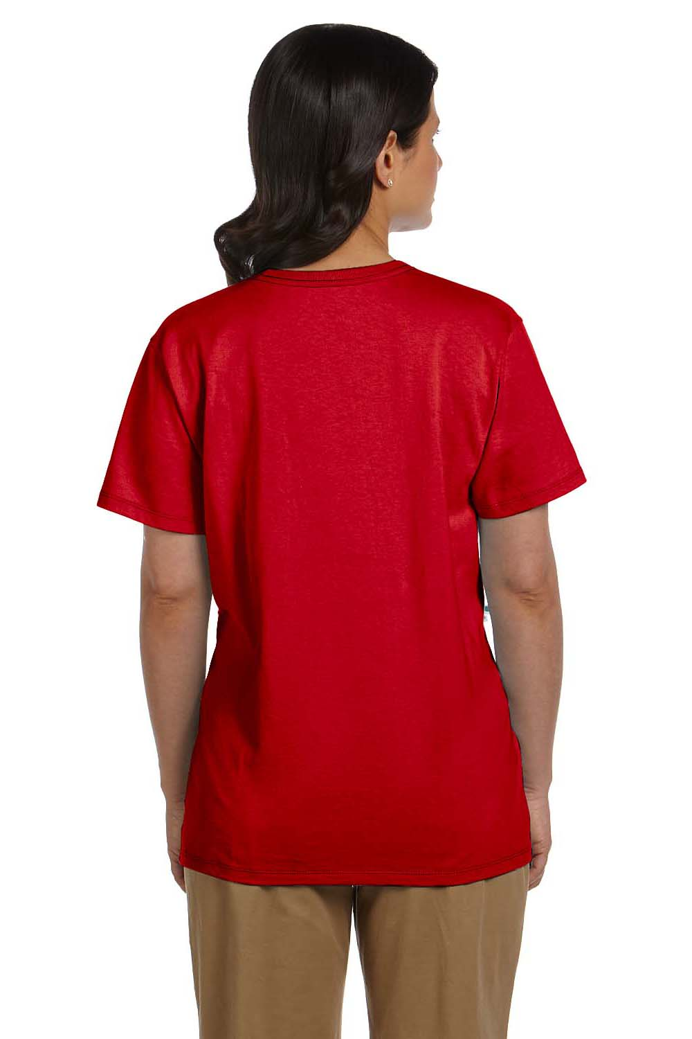 Hanes 5780 Womens ComfortSoft Short Sleeve V-Neck T-Shirt Red Back