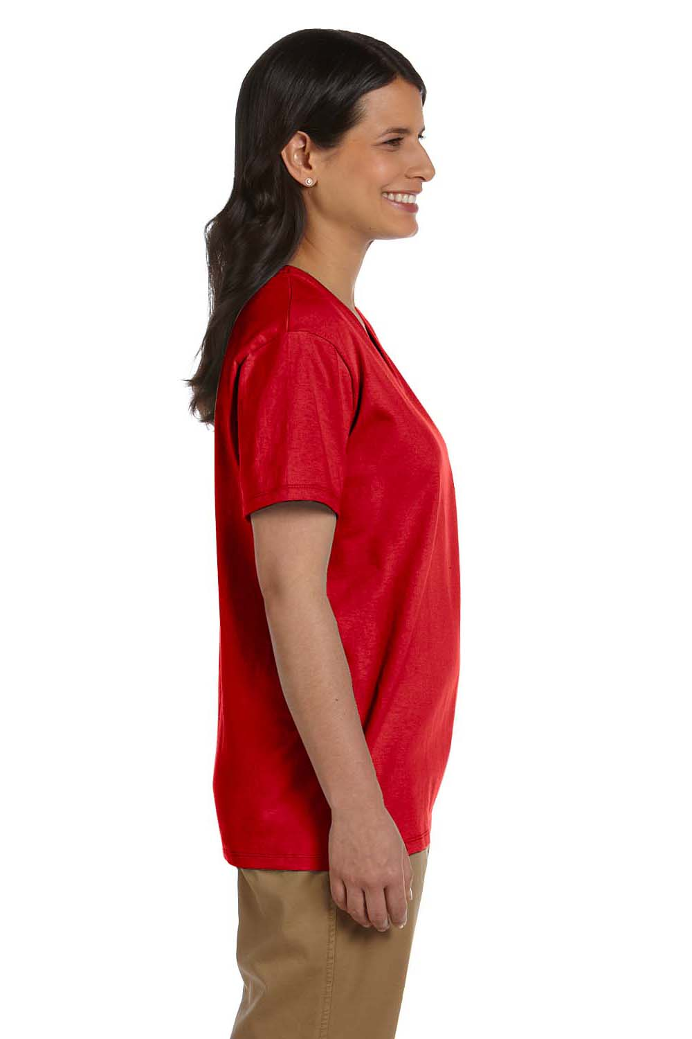 Hanes 5780 Womens ComfortSoft Short Sleeve V-Neck T-Shirt Red Side