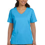 Hanes Womens ComfortSoft Short Sleeve V-Neck T-Shirt - Aquatic Blue