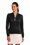 Nike 578674 Womens Dri-Fit Moisture Wicking 1/4 Zip Sweatshirt Black/White Front