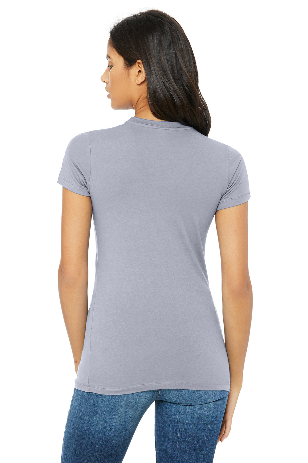 Bella + Canvas 6004 Womens The Favorite Short Sleeve Crewneck T-Shirt Heather Blue Back