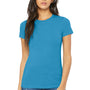 Bella + Canvas Womens Aqua Blue The Favorite Short Sleeve Crewneck T-Shirt