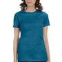 Bella + Canvas Womens Deep Teal Blue The Favorite Short Sleeve Crewneck T-Shirt