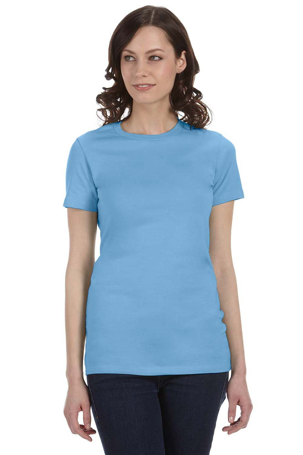 Bella + Canvas 6004 Womens The Favorite Short Sleeve Crewneck T-Shirt Ocean Blue Front